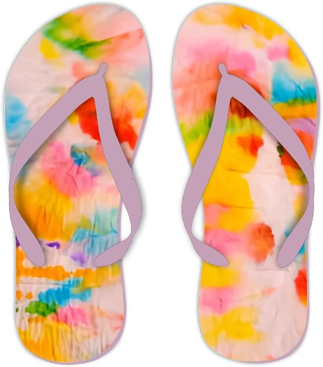 UTF4C Summer Flip Flops for Men Women Colorful Abstract tie dye Pattern Soft Lightweight Non Slip Sandals for Shower Beach Pool Bathroom Flat 9
