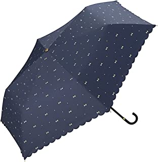 ワールドパーティー(Wpc.) 日傘 折りたたみ傘  ネイビー  50cm  レディース 傘袋付き 遮光ジェムリボン ミニ 801-945 NV