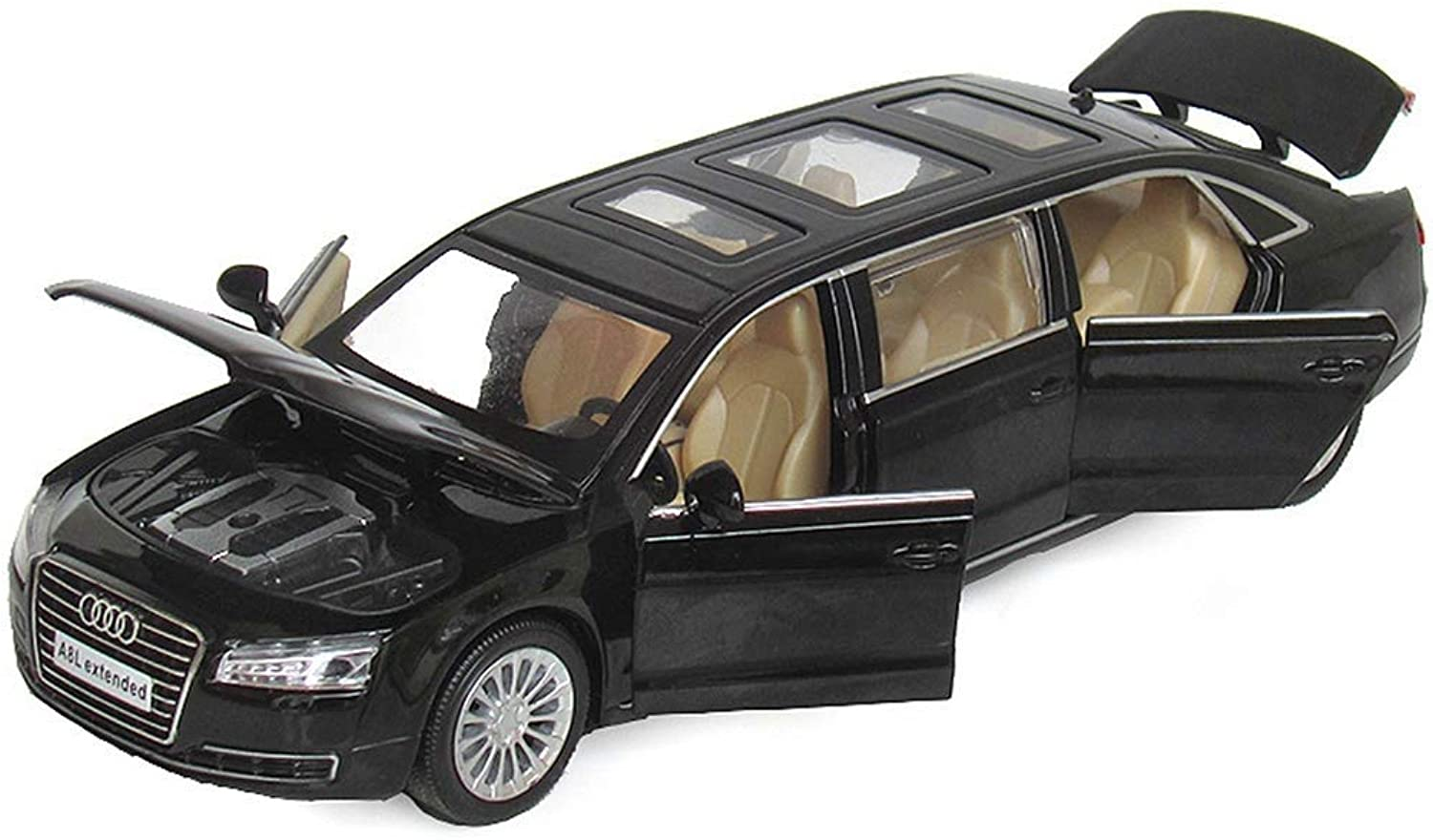 KKD Scale Model Simulation Vehicle Audi Car Model A8L Extended Car Model 6 Door Sound And Light Pull Back Simulation Alloy Car Model Ornaments To Send Boys Gifts ( color   Black )