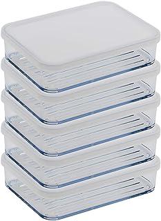 Silicook Flat Plastic Box for Kitchen for Kitchen&Refrigerator Organization, Transparent Food Storage Container for Kitchen, Fridge, Freezer (5, Medium)