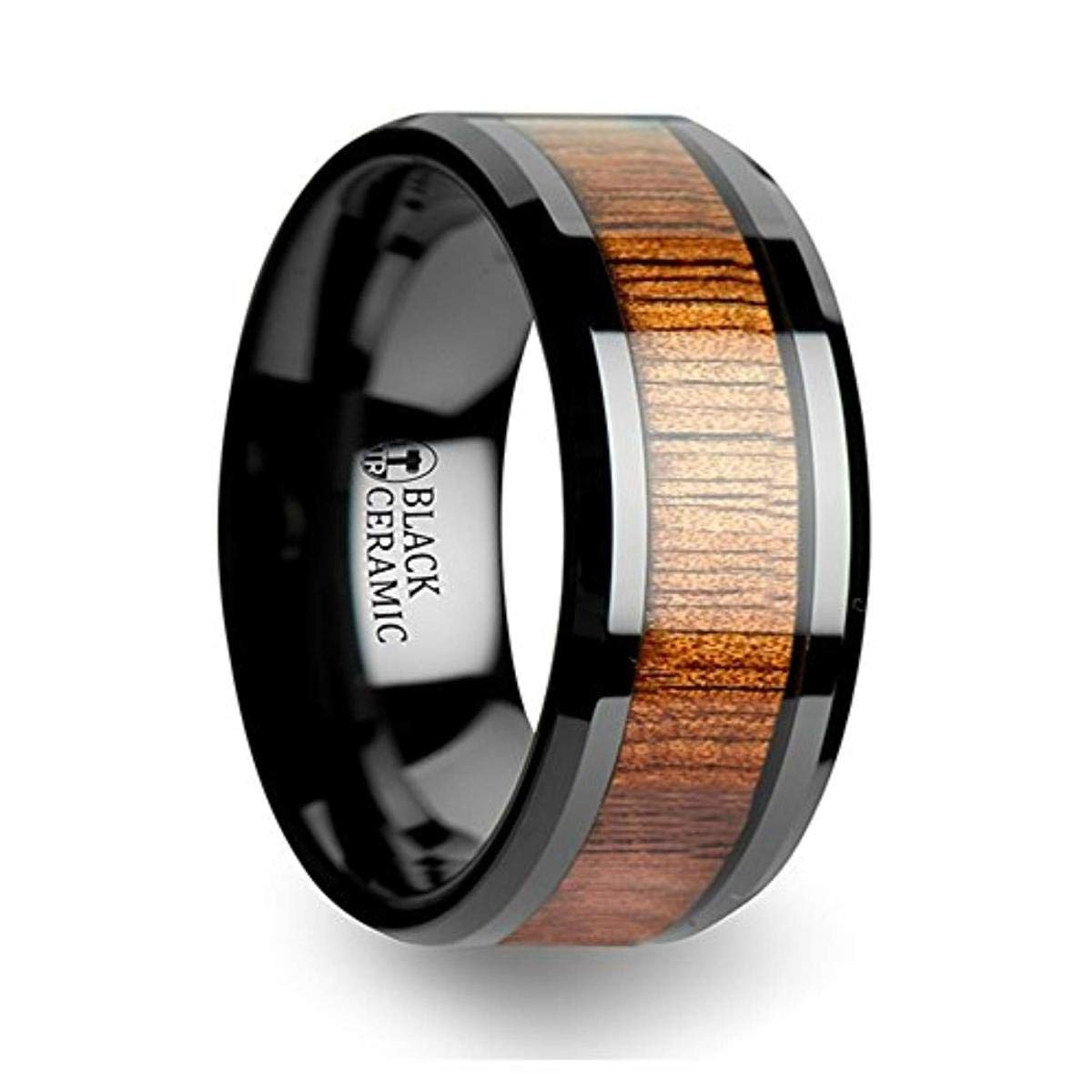 Thorsten Antonius Black Beveled Ceramic Ring with Black /& Red Carbon Fiber Center Inlay 4mm Wide Wedding Band from Roy Rose Jewelry