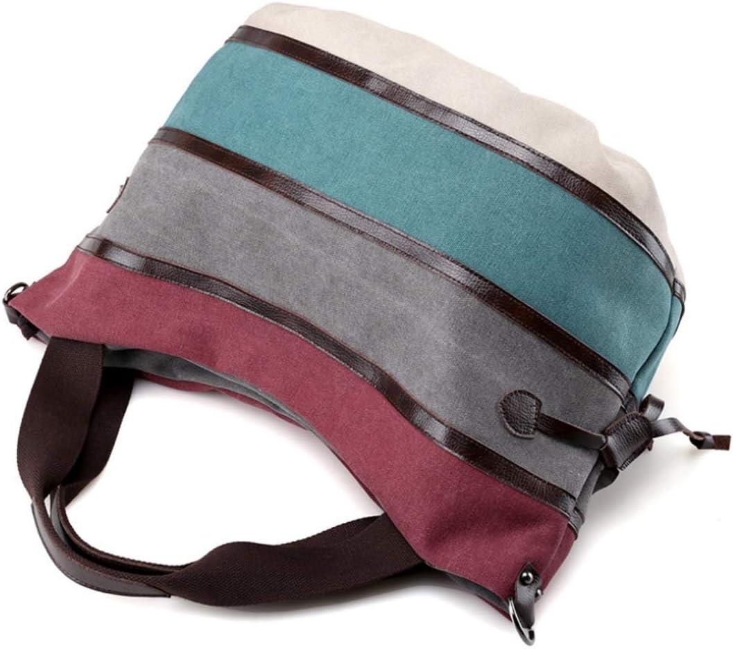 N/A ZJDDP Sac à Main en Toile Ms Brown rayé Messenger Bag Zipper Simple et Casual Sac à bandoulière Sauvage rayé Toile Femme Sacs à bandoulière (Color : A) B