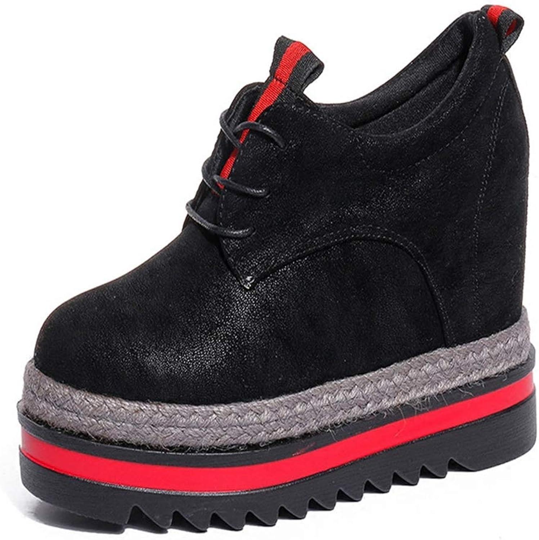Hoxekle Women Retro Height lncreasing Lace Up Casual Wedge Heel Platform Sneaker British Lady Fashion Outdoor Walking shoes