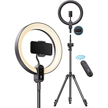 TaoTronics 12'' Ring Light, Dimmable LED Ring Light with 78'' Tripod Stand, Outer 24W 6500K, USB Charging Port, Carrying Bag, Light Remote Control and Shutter for YouTube Video TikTok