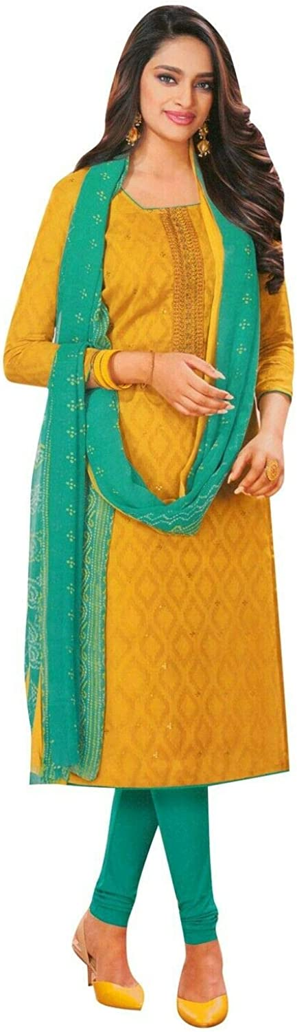 Pure Jacquard Cotton Embroidered Salwar Kameez Suit for Womens with Chiffon Printed Dupatta
