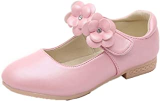 Zapatos Mary Jane para niñas Zapatos Planos de Cuero con Punta Redonda y Punta Baja de Color sólido Zapatos de Princesa co...