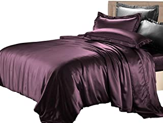 THXSILK Silk Duvet Cover Set 4 Piece, 22 Momme Silk Sheets, Luxury Bedding Sets - Ultra Soft, Machine Washable, Durable - 100% Top Grade Mulberry Silk - King Size, Deep Magenta
