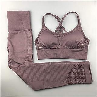 SHENGC Seamless Yoga Set Women Fitness Clothing Sportswear Woman Gym Leggings Padded Push-up Strappy Sports Bra 2 Pcs Spor...