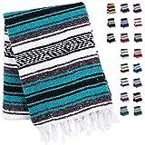 10. Handcrafted Mexican Blankets, Artisanal Handwoven Serape Blanket, Authentic Falsa Blanket, Great As Beach Blanket, Camping Blanket, Picnic Blanket, Outdoor Blanket, Boho Throw Blankets, Emerald