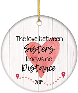 VILIGHT Long Distance Christmas Ornament Gifts for Sisters - 2.75 Inch Flat Circle Ceramic Decor with Tag & Gold Ribbon