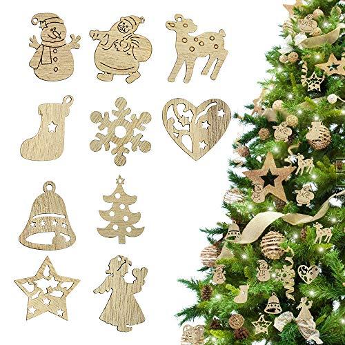 RMENOOR 200 Stücke Weihnachtsbaum Anhänger Holzscheiben Christbaumanhänger Holz Streudeko Baumschmuck Christbaumschmuck Weihnachtsdeko zum Aufhängen (Stil gemischt)
