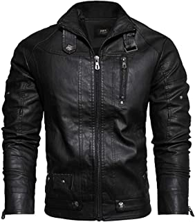 wuliLINL Coat Men's Faux Leather Jacket Autumn Winter Washed Vintage Turndown Collar Warm Motorcycle Outwear