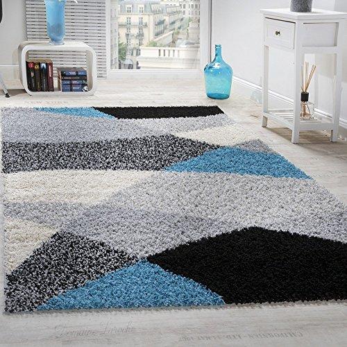 Paco Home Tapis Shaggy Longues Mèches Hautes Motifs Gris Noir Blanc Turquoise, Dimension:120x170 cm
