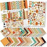 Paper & Sticker Kit - Welcome Fall - 20 Double-Sided 12x12 Papers with 39 Designs & 1 8X12 Sticker Sheet - Scrapbooking Card Making Crafting - by Miss Kate Cuttables