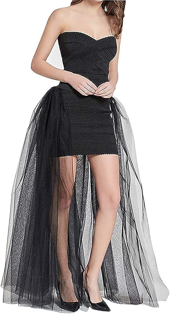 Globalwells Tulle Overskirt Train Mesh 4 Layers Overlay Long Tutu Skirts Floor Length Detachable Wedding Train Skirt