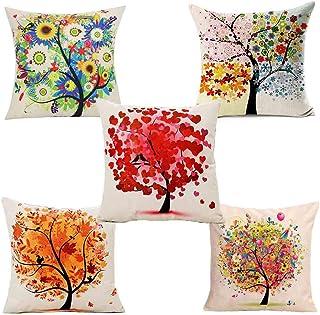 Gudotra 5 pcs Funda de Cojín de Algodón de Lino Colorido Otoño Flor Árbol para Sofá Sala de Estar Dormitorio Cama Decorativo(45x45cm)