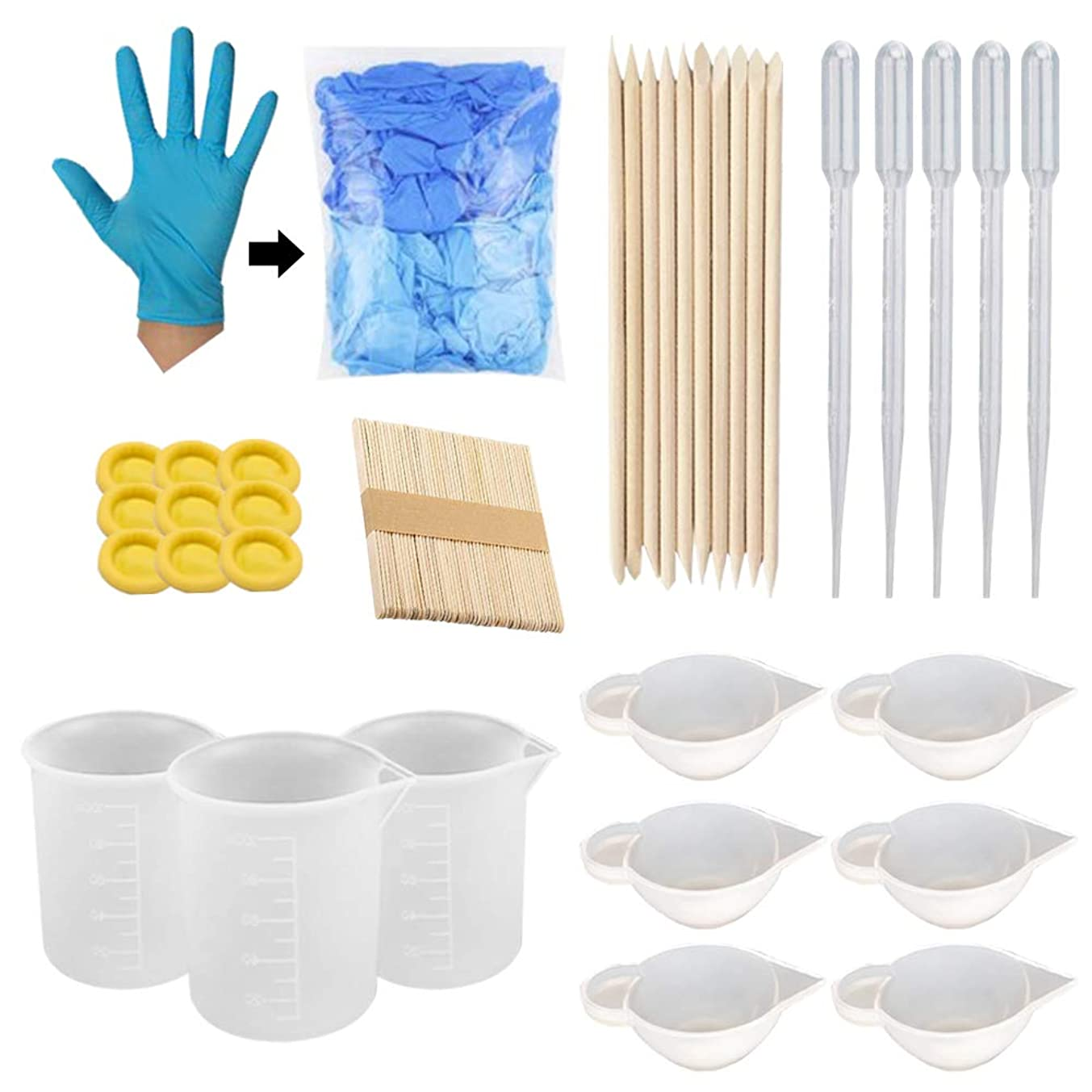 Ohaha Nonstick Silicone Mixing Cups, Nitrile Gloves,Finger cots Gloves,Sticks,Transfer pipettes Plastic droppers for Epoxy Resin, Casting Molds, Slime, Art, Waxing, Kitchen