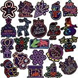 Neon Christmas Stickers for Kids Neon Stickers for Envelope Waterproof Vinyl Stickers Pack Cute Stickers(50 Pcs)
