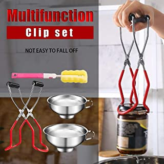 4 Pcs Stainless Steel Canning Tool Set Kit- Canning Jar Lifter, Canning Funnels with Grip Handle and Sponge Cleaning Brush...