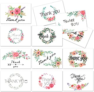 D-FantiX 4x6 Thank You Cards Floral, 12 Design Thank You Notes Cards Bulk Blank Inside for Baby Bridal Shower Wedding Birthday Business Greeting Cards with Envelope and Stickers 48Pcs Assorted Pack