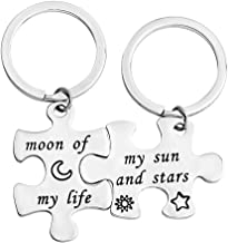 bobauna Moon of My Life My Sun and Stars Puzzle Keychain Set Game of Thrones Inspired Jewelry Gift for Couples Best Friends