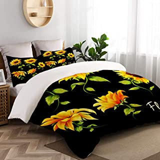 """Mokale Duvet Cover Full Size,Flowers Floral Collection Set Five Sunflowers,Decorative 3 Pieces Bedding Set with Zipper Closure and 2 Pillow Shams (80"""" 90"""")"""