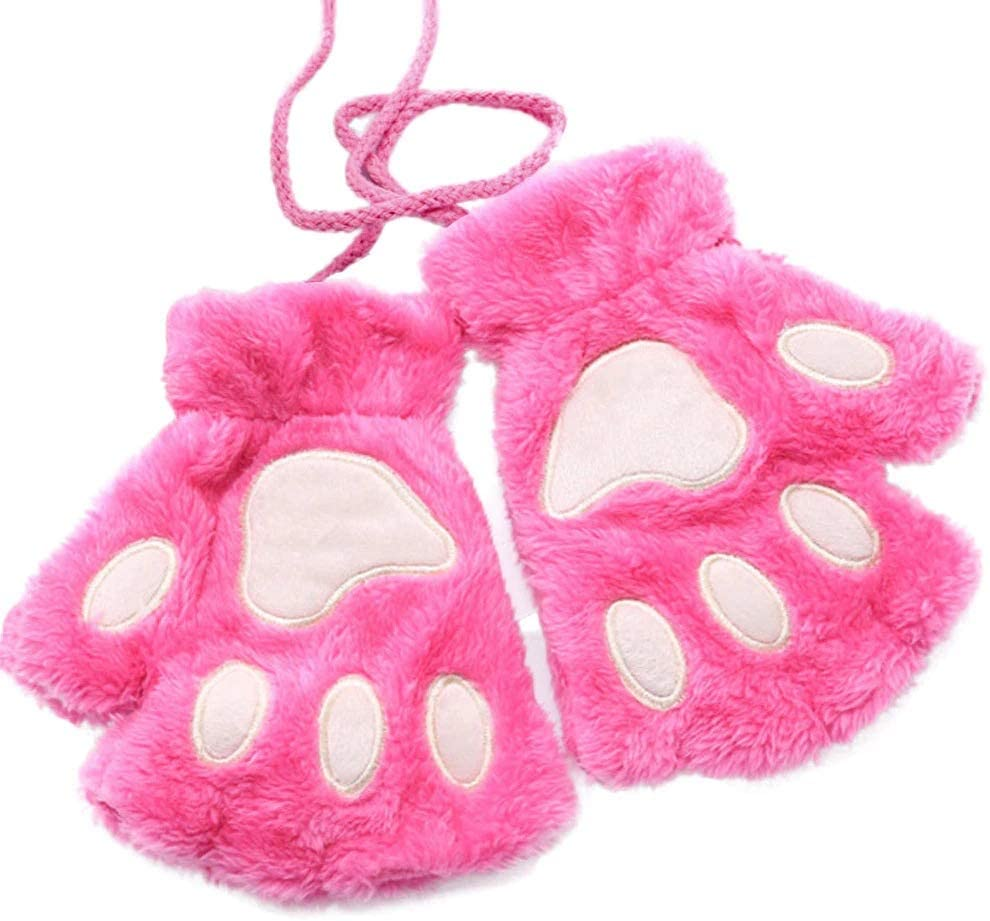 FASGION 2019 Winter Lovely Women Bear Cat Claw Paw Mitten Plush Gloves Short Finger Half Gloves Ladies Half Cover Female Gloves (Color : Hot Pink, Gloves Size : One Size)