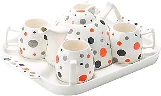 Porcelain Polka Dot Tea Cup Coffee Set & Ceramic Serving Tray (BrightOrange)