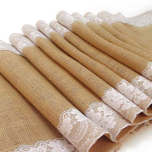 AAYU White lace Burlap Table Runner 14 Inch x 108 Inch | Perfect Burlap Roll Lace Runner for Rustic Weddings and Events (White Lace on Both Sides)