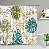 XCBN Tropische Palmblätter Grüne Pflanze Duschvorhänge Kaktus Löwenzahn Blumenszene Wasserdichter Vorhang Badezimmerdekore A9 120x180cm
