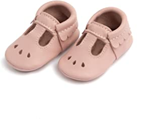 Freshly Picked - Rubber Mini Sole Leather Mary Jane Moccasins - Toddler Girl Shoes - Infant/Toddler Sizes 3-7 - Multiple Colors