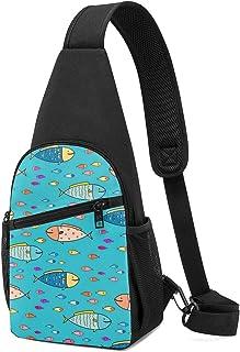 Bolso de hombro con patrón de pescado abstracto dibujado a mano, mochila ligera para el pecho, bolsa cruzada, bolsas de vi...