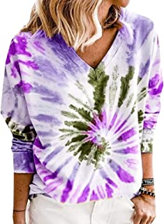 Miracle Women Casual Long Sleeve Tie Dye Print Round Neck Color Block Loose Pullover Sweatshirt T-Shirts