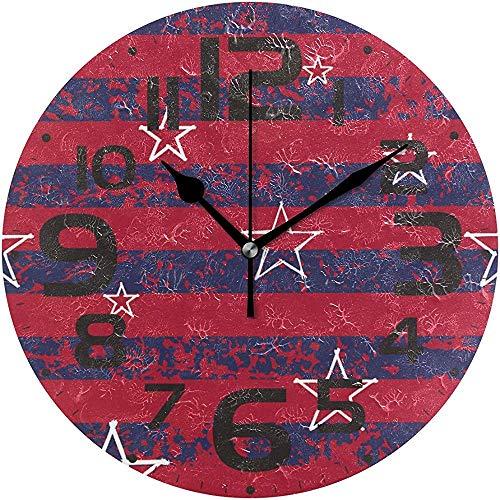 sam-shop Reloj de Cocina Big Red Graffiti Sars Silent Vintage Reloj de Pared Redondo de Madera