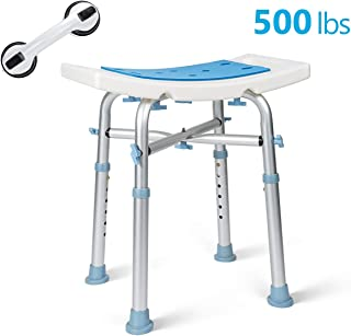OasisSpace Heavy Duty Shower Chair 500lb, Padded Bath Seat with Free Assist Grab Bar - Medical Tool Free Anti-Slip Shower Bench Bathtub Stool Seat for Elderly, Senior, Handicap & Disabled