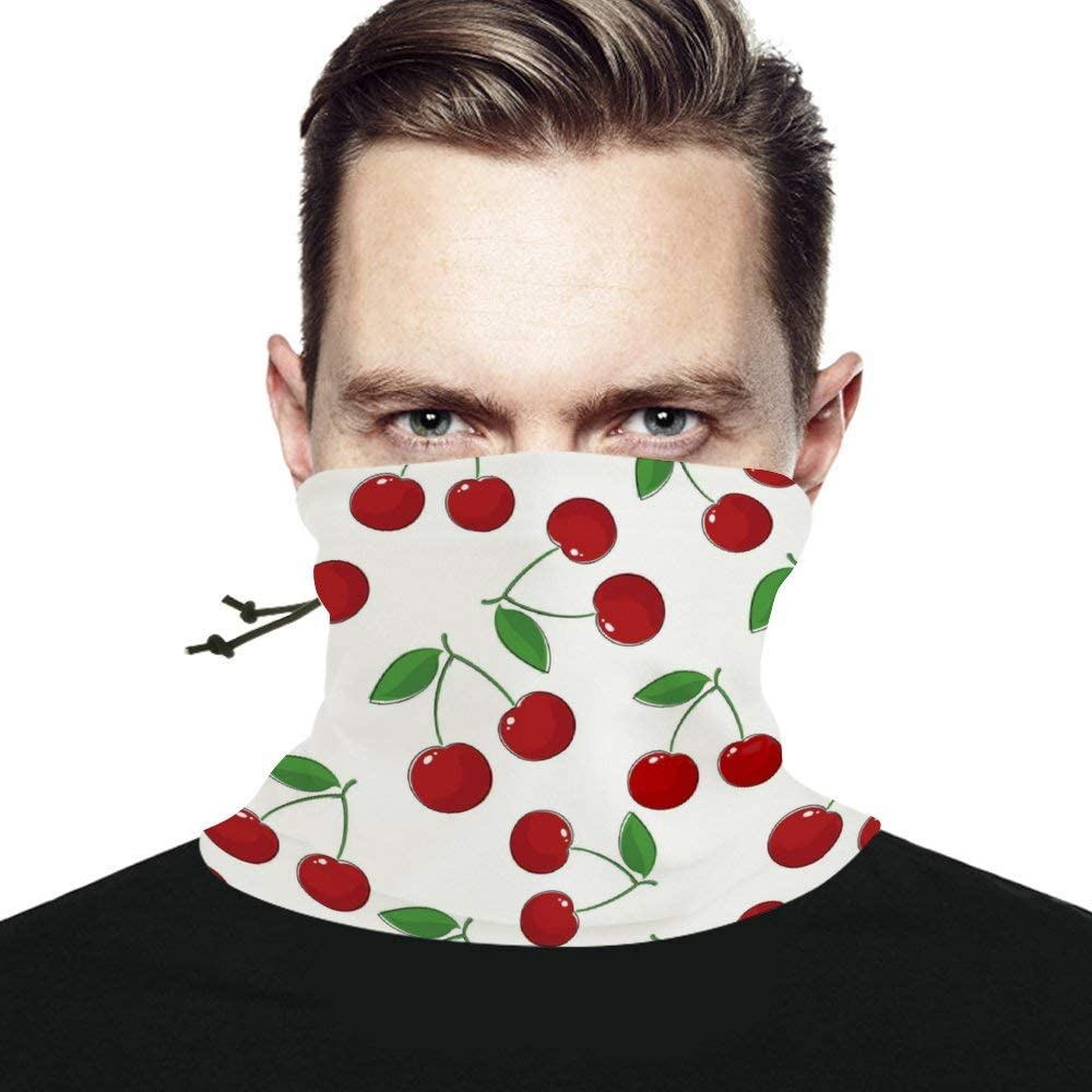 Deep Red Cherry Pattern Unisex Winter Neck Gaiter Warmer Scarf Windproof Multifunctional Face Mask Bandana Reusable for Cold Weather Skiing Running Outdoor Sports