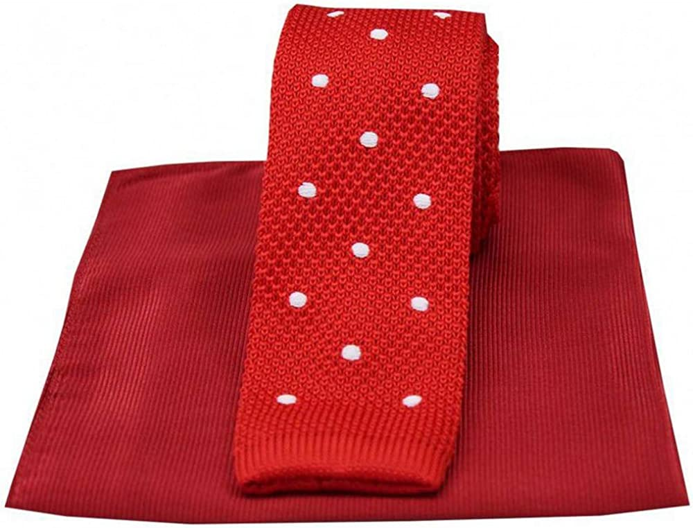 David Van Hagen Mens Spotted Thin Knitted Silk Tie and Ribbed Handkerchief Set - Red/White