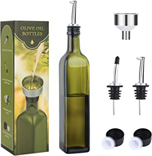 Aozita 17oz Glass Olive Oil Bottle - 500ml Green Oil & Vinegar Cruet with Pourers and Funnel - Olive Oil Carafe Decanter for Kitchen