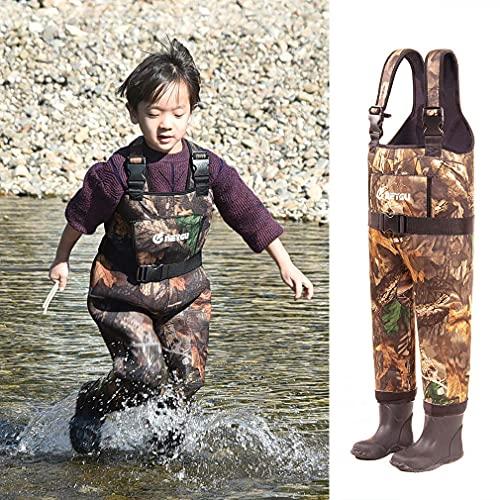 NEYGU Thermo-Wathose für Kinder, 5 mm, Neopren, wasserdicht, mit Gummistiefeln, hält das Kind warm unter -31 °C, Ahornblatt-Stil, 7T