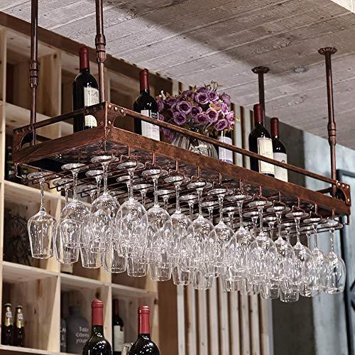 Bar Weinglashalter hängender Becherständer umgedrehter kreativer Weinregal hängender Becherhalter für den Haushalt (Farbe: BRAUN Größe: 100 * 35 cm)