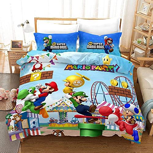 M-ario Juego Juego de cama para niños - Juego de cama infantil 3D Super M-ario y funda de almohada 2/3 piezas