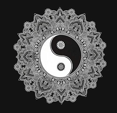 YING YANG Wandbehang 147x147cm Indisches Tuch Mandala Wanddeko deko Wand Wandteppich psychedelic orientalisch schwarz weiß bohemian Boho Stil style Tagesdecke Dekotuch