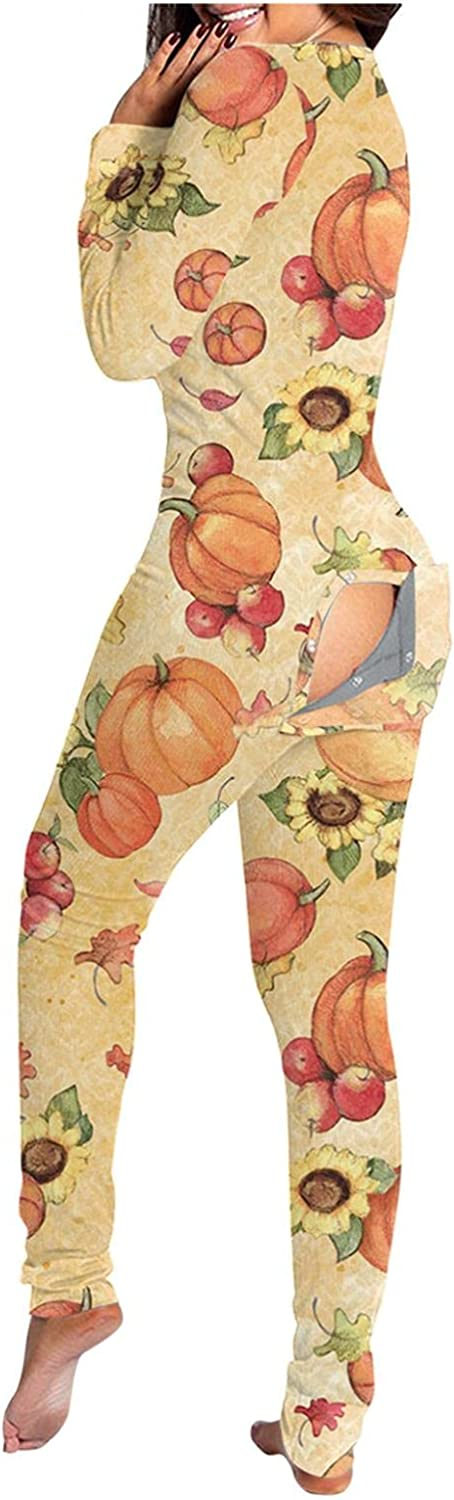 ORT Jumpsuits for Women Plus Size, Halloween Pajamas for Women,Casual Long Sleeve V Neck Jumpsuits Halloween Graphic Jumpsuit