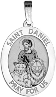 Saint Daniel Oval Religious Medal - 2/3 X 3/4 Inch Size of Nickel, Sterling Silver