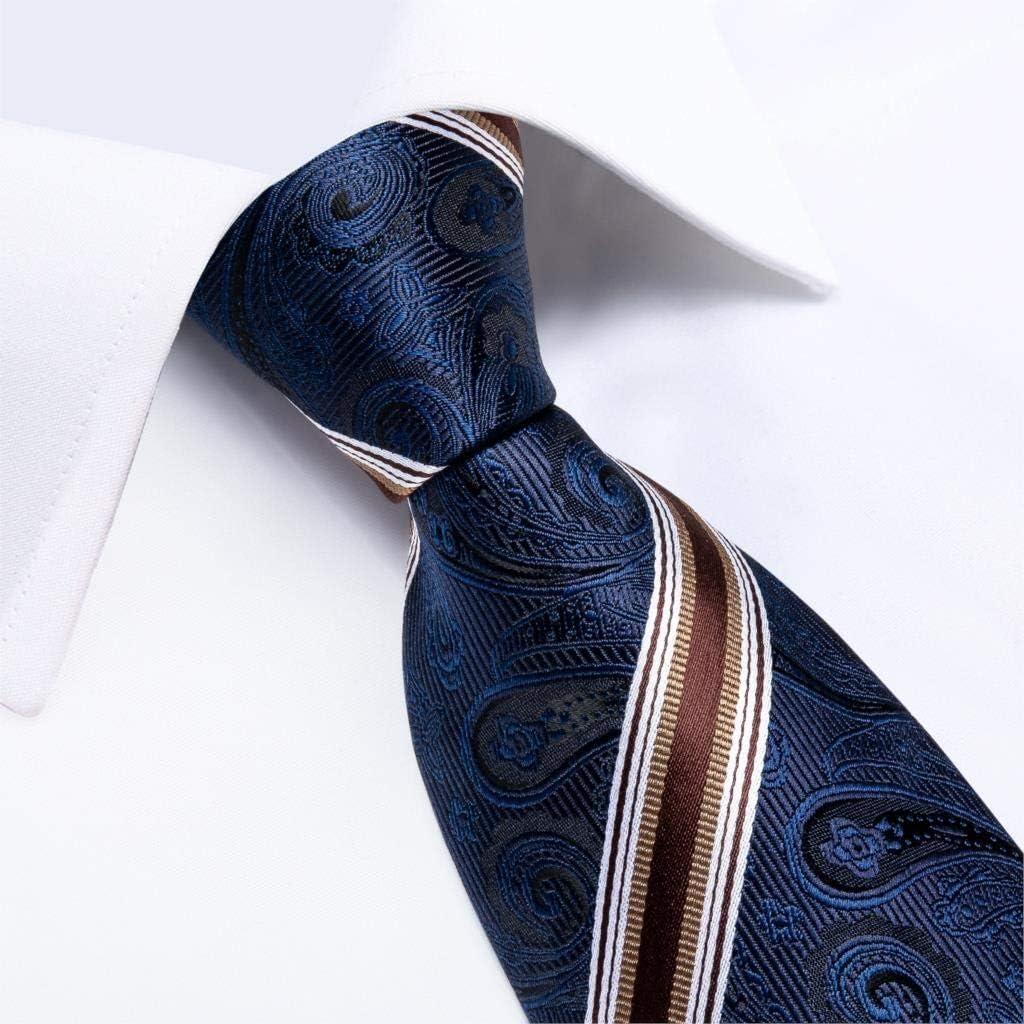 JIEIIFAFH Men Tie Navy Blue Red Wine Striped Silk Wedding Tie Compatible with Men Cufflink Gift Tie Set Design Party Business Fashion