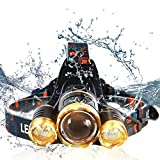 Best LED Headlamp 80000 Lumen - Improved LED with Rechargeable 18650 Battery, Bright Head Lights,Waterproof Hard Hat Light,Fishing Head Lamp,Hunting headlamp,Running or Camping headlamps …