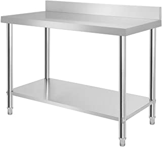 Aufun Table de travail en acier inoxydable - Réglable en hauteur - Pour cuisine, bar, restaurant - Avec rebord relevé - Ar...