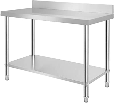 Aufun Table de travail en acier inoxydable - Réglable en hauteur - Pour cuisine, bar, restaurant - Avec rebord relevé - Argenté - 120 x 60 x 85 cm