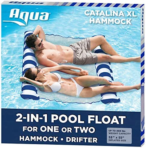 Aqua Catalina XL Hammock 4 in 1 Multi Purpose Inflatable 1 2 Person Pool Float Water Lounge product image