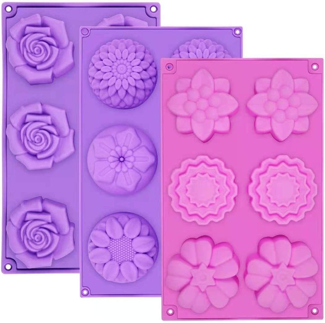Max 52% Cheap SALE Start OFF Silicone Soap Molds AIDOIT 3 Cavity Assorted 6 Flo PCS